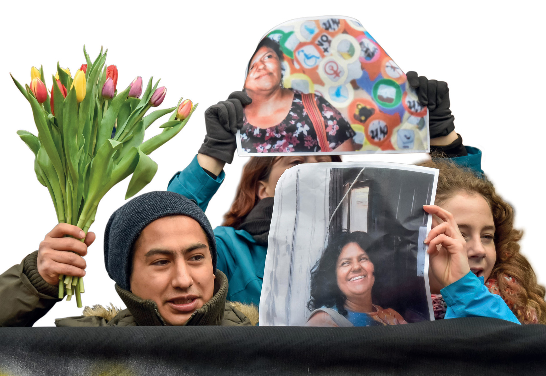 Indigenous and other activists gather in front of the Honduran embassy in London in response to the murder of anti-dam campaigner Berta Cáceres in 2016.