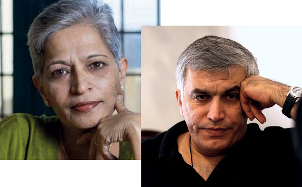 Left: murdered Indian newspaper editor, Gauri Lankesh. Right: Nabeel Rajab, imprisoned human-rights defender in Bahrain.
