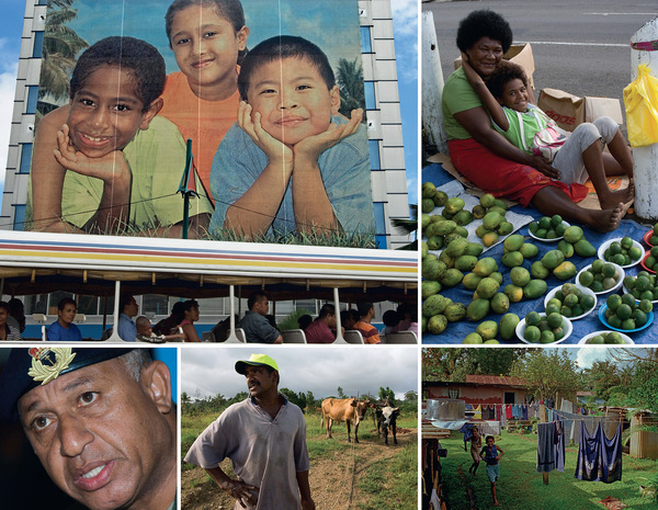Clockwise from top left: A billboard celebrating multiculturalism on the main street of the capital, Suva; selling mangoes by the roadside; temporary housing on the outskirts of Suva for Lau islanders who have come to the main island of Viti Levu seeking work; Ape Maleki, a farmer from the village of Vunaniu, tending his cattle; and 'Frank' Bainimarama, pictured at the time of the 2006 coup. All photos by Jocelyn Carlin / Panos Pictures.