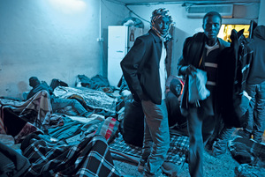 A communal bunk for Sudanese refugees who have taken shelter in south Tel Aviv, Israel.