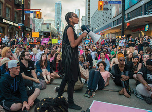Black Pride: Janaya Khan during the Toronto Trans Pride March in July 2016.
