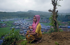Where is home? A Rohingya refugee takes a moment's pause, shortly after arriving in a makeshift camp at Teknaf, Bangladesh, last September. She is one of over 670,000 people to have fled over the border from Myanmar since August 2017. The high numbers and sheer rate of arrivals make this the fastest-growing refugee crisis in the world.Photo: Enamul Hasan/Drik