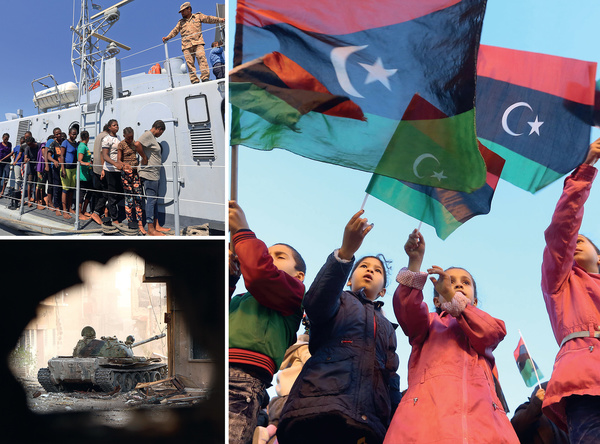 Clockwise from top left:  Migrants arrive in Tripoli after being rescued by Libyan coastguards; children wave their country's national flags as they celebrate in Tripoli's Martyrs' Square in February 2018 on the seventh anniversary of the Libyan revolution, which toppled Muammar Qadafi; and a tank of the self-styled Libyan National Army loyal to Khalifa Hafter advancing through a street in Benghazi's central Akhribish district following clashes with militants.