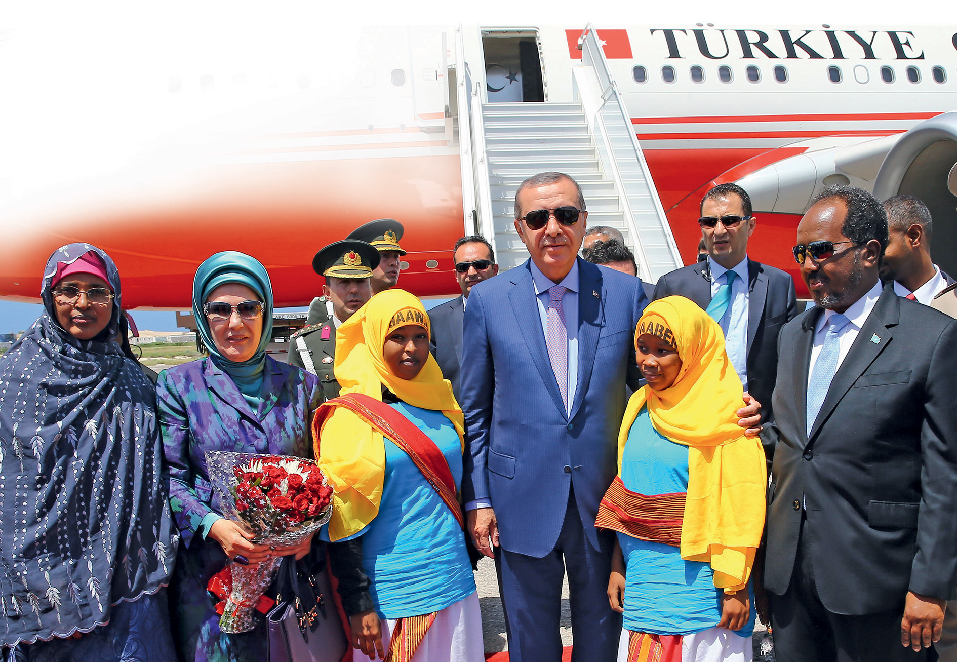 Special relationship: Turkish President Recep Erdoğan and his wife are welcomed to Mogadishu by then-President of Somalia, Sheikh Mohamoud in 2016.