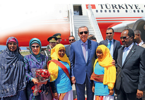 Special relationship: Turkish President Recep Erdoğan and his wife are welcomed to Mogadishu by then-President of Somalia, Sheikh Mohamoud in 2016.Photo: Kaylan Ozer Anadolu Agency/Getty Images