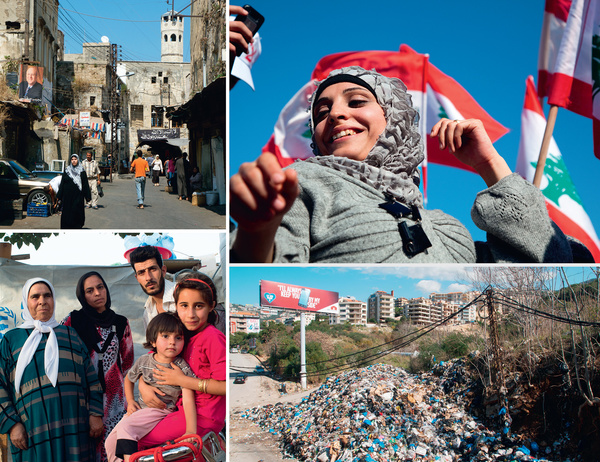 Clockwise from top left: The historic market in the northern town of Tripoli; all smiles at a political rally in Beirut's Martyrs' Square; rubbish dumped on the road in north Beirut – the country's garbage-collection system has collapsed; and a family of Syrian refugees in a UN camp near Zahle, in the Bekaa Valley.    All photos from Alamy and (in the order above) by Mark Pearson, Geoff Dunlop, Char Abumansoor and François Razon.
