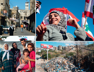 Clockwise from top left: The historic market in the northern town of Tripoli; all smiles at a political rally in Beirut's Martyrs' Square; rubbish dumped on the road in north Beirut – the country's garbage-collection system has collapsed; and a family of Syrian refugees in a UN camp near Zahle, in the Bekaa Valley.