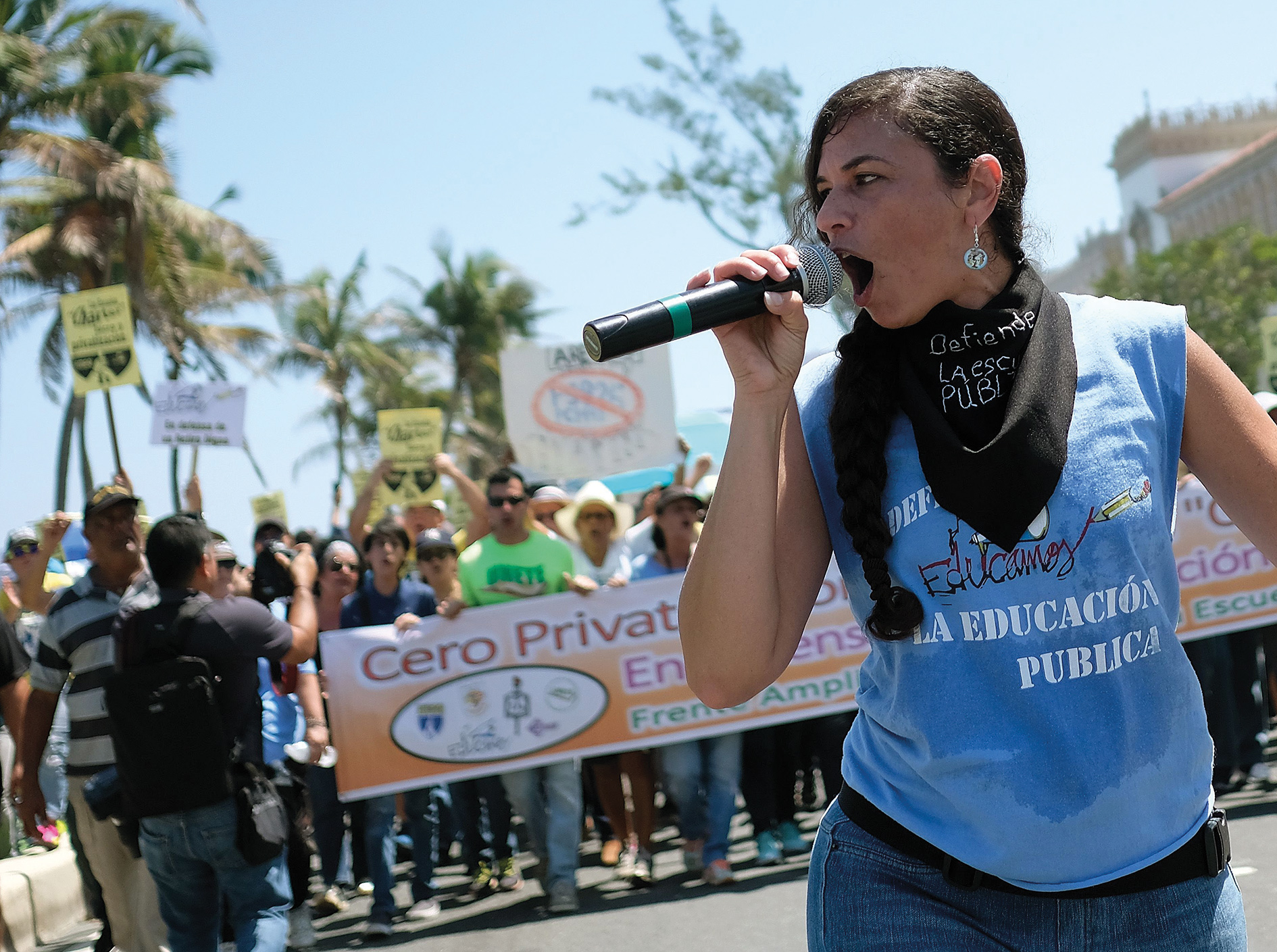 Fighting for their livelihoods: Puerto Rican teachers come out against the government's drive to privatize public education.