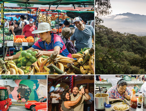 Clockwise from top left: At work on a fruit stall in the Zapote farmers' market, a popular weekly event in the capital, San José; early-morning haze over the country's central valley – mountains clad with rainforest rich in biodiversity rise on both sides; chef Suhel del Socorrolopez takes lunch orders in San José's central market; flaunting it to merengue and salsa music at the Meylin Dancehall; and street art in the Carmen neighbourhood, with the capital's distinctive red taxis in the foreground.Photos: Ben Roberts / Panos Pictures.