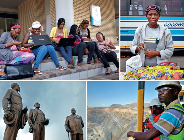 Clockwise from top left: Students at the University of Botswana in the capital, Gaborone; Nthompe Rosinah Mothata selling her snacks in Gaborone's bus station; looking out over the main pit of the Jwaneng mine in the Kalahari – the richest diamond mine in the world; and the Three Dikgosi (Chiefs) Monument depicting the leaders of the Bangwato, Bakwena and Bangwaketse ethnic groups – a set of bronze figures cast by a North Korean company and located in Gaborone's Central Business District.