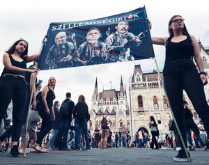 'Mindbusters' reads the banner, with Orban pictured in the middle: young Hungarians take a tongue in cheek stand against the propaganda apparatus.Photo: Lorraine Mallinder