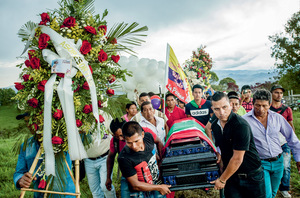 The funeral in April 2017 of indigenous leader Gerson Acosta, among the hundreds killed since the peace deal of 2016.Photo: Mads Nissen / Panos