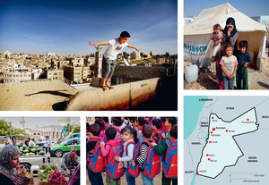 Photos, clockwise from top left: Adham playing on the rooftops in the capital, Amman; mother and children at the Zaatari Camp for refugees from Syria; queuing up for school, also in the Zaatari Camp; a roadside market for fruit and vegetables in the Red Sea port of Aqaba.