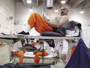 Packed in: at an overcrowded California prison, inmates are housed in the gym.Lucy Nicholson / Reuters