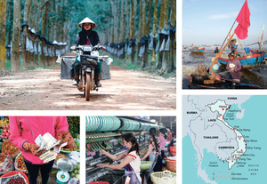Photos, clockwise from top left: A woman transports containers of raw latex on a motocycle in a rubber plantation in Kon Tum; preparing fishing nets on Vung Tau beach; spinning in a silk factory in Dalat; counting banknotes at a fruit market in Ho Chi Minh City.Photos: PASCAL DELOCHE/PANOS