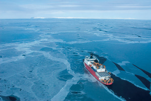 The opportunities presented by melting ice are spurring the militarization of the Arctic. The US is among the nations planning to expand its fleet of icebreaker ships such as this one, pictured making its way to St Lawrence Island in Alaska.Photo: Accent Alaska