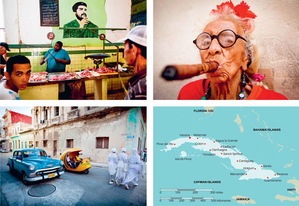 Photos, clockwise from top left: A butcher plies his trade in Havana beneath the omnipresent image of Che Guevara; a woman who charges tourists one US dollar per picture for posing with her outsize cigars; classic American cars are a commonplace sight on the capital's streets but less familiar are initiates of Santeria (an Afro-Caribbean syncretic religion), who must wear white for a year and cannot be on the street after six o'clock in the evening.Photos: Kris Pannecoucke / Panos