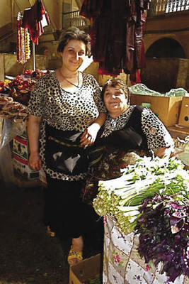 Stallholders at the spice, vegetable and fruit market in Yerevan.