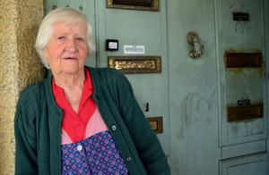 Maria Augusta, 85, lives in fear of eviction since her building was sold to a company planning to invest in short-term rentals.Photo: Marta Vidal