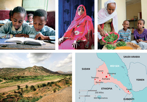 Photos, clockwise from top left: Children at the Deari elementary school in Keren; portrait of Meriem Mohammed Omer, a former practitioner of female genital mutilation who now advocates against the practice and is proud that all her granddaughters are uncut; Adanesh Gebrehiwo serves lunch to some of the 12 children living in a group home for orphans in Keren; a dry valley in the province of Anseba.Photo: GIACOMO PIROZZI/PANOS