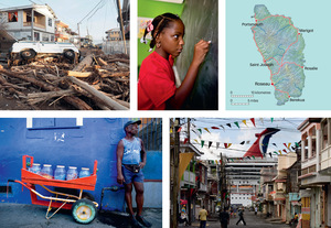 Photos, clockwise from top left: Hurricane Maria destroyed almost everything in its path, as this photo taken on 18 September 2017 shows; fierce concentration in a classroom of St Luke's primary school in Pointe Michel; a cruiseship towering over the harbour front; selling sweets on the streets of the capital, Roseau.Photos: All by Tim Smith/Panos, except cruiseship by Jean-francois Manuel/Alamy