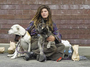 One of the unemployed millions: a homeless woman in San Francisco.Franco Folini under a CC Licence