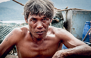 Burmese worker Ko Htay complained of long working hours and lack of food on a Thai trawler. Workers report 20-hour shifts; some are given amphetamines to keep them going.Photo: Photograph © EJF