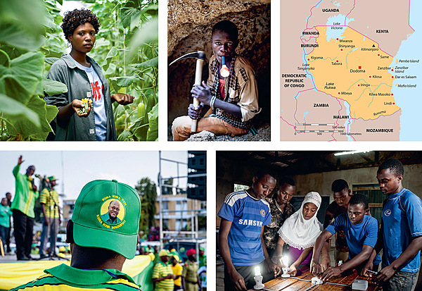 Photos, clockwise from top left: a woman working in a greenhouse, fertilizing female plants with male flowers for a company that produces seeds for export to European farmers; Itaga Sasa Masuke, 21, who works at the Kahama goldmine, prepares to go underground without safety equipment; teenagers, including 16-year-old girl Mwanaid Abeid, learning about electrics at the Nzega vocational training centre; a supporter listens to a speech by (soon to be elected) President Magufuli.Photo: SVEN TORFINN/PANOS