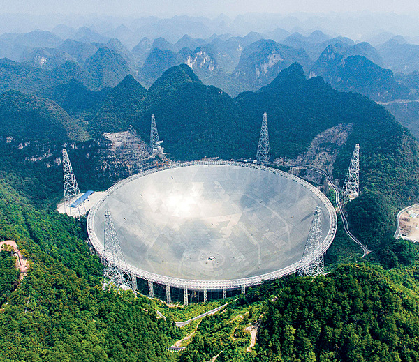 Since the 2008 economic crisis, China has invested heavily in infrastructure. The largest radio telescope in the world, for observing outer space, was completed in 2016 in southwest China. Photo: Liu Xu/Xinhua/Alamy