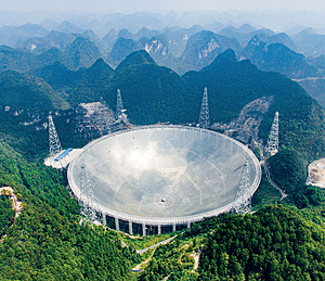 Since the 2008 economic crisis, China has invested heavily in infrastructure. The largest radio telescope in the world, for observing outer space, was completed in 2016 in southwest China.Photo: Liu Xu/Xinhua/Alamy