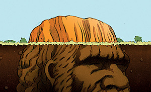 Solid Rock – traditional owners close Uluru to climbers.Illustration: Glen Le Lievre (Australia)
