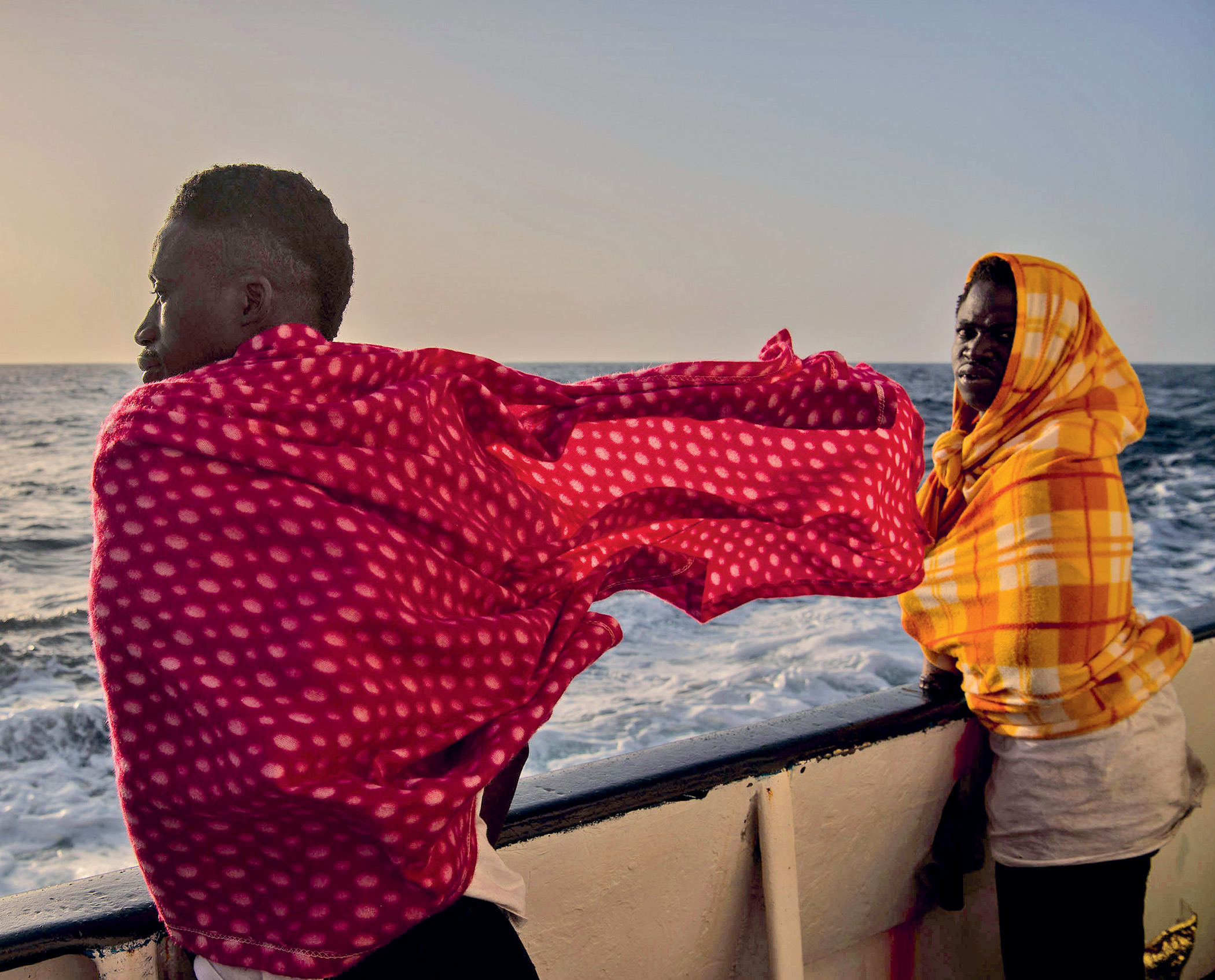 Europe-bound. Migrant travellers from Togo en route to Italy after being rescued by Spanish rescue NGO Open Arms, February 2017.