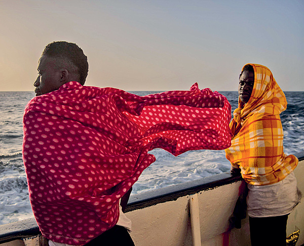 Europe-bound. Migrant travellers from Togo en route to Italy after being rescued by Spanish rescue NGO Open Arms, February 2017. Photo: David Ramos/Getty