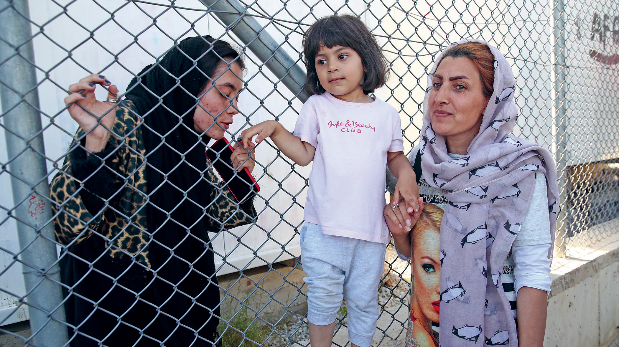 Women at Moria camp on the Greek island of Lesvos, in October 2019. Tens of thousands of migrant travellers have been trapped in overcrowded camps on the Greek islands since 2016.