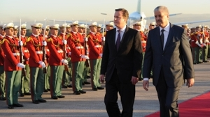 Red alert: David Cameron in Algiers with Algerian prime minister Abdelmalek Sellal.
