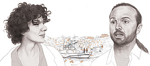 Illustration: Denise Nestor (figures) and Amel al-Zakout (background scene)