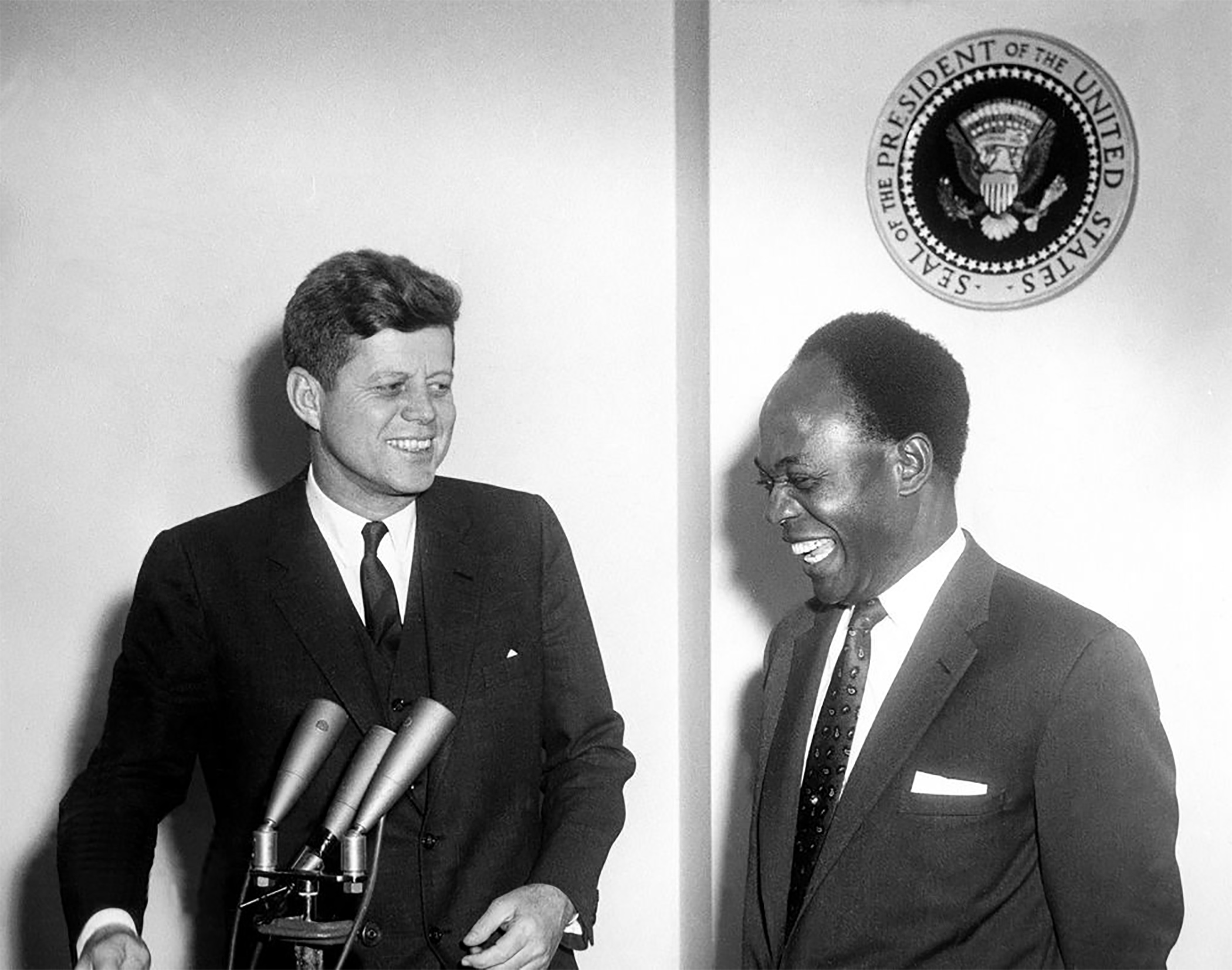 President Kwame Nkrumah of Ghana, a critic of Western influence over his country, meets with US President John F Kennedy. There may have been smiles all around but Nkrumah's cards were marked.