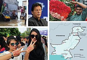 (clockwise from top left): A family outside their flooded house in Karachi, which was hit by super cyclonic storm Kyarr in October 2019; Imran Khan speaking at the World Economic Forum in Davos in January 2020; Asia's biggest flower market in Lahore; students in Lahore participating in the Global Climate Strike in September 2019.Photos: All From PA Images: STR/Xinhua; Valeriano Di Domenico/World Economic Forum/DPA; Last two both by Rana Sajid Hussain/Pacific Press/Sipa Usa.