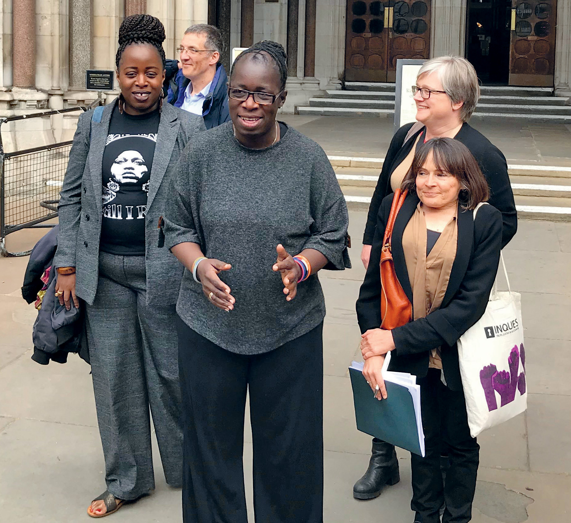 Rosamund Kissi-Debrah outside the High Court in central London, on 2 May 2019, after judges ruled that a new inquest could be held into the death of her daughter Ella from an asthma attack.