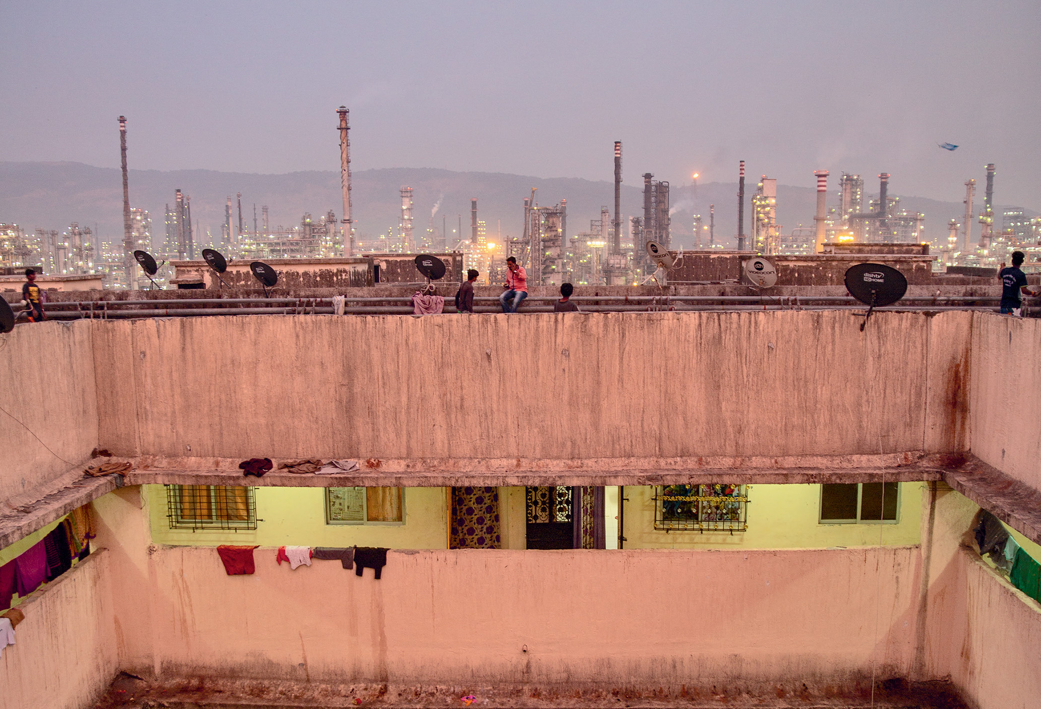 Room with a view: Residents of Mahul's resettlement colony are forced to live in a polluted industrial area.