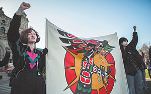 The fight continues: indigenous groups and their allies blockade government buildings in Victoria, Canada to protest a natural gas pipeline through Wet'suwet'en territory.Photo: ZUMA Press, Inc./Alamy