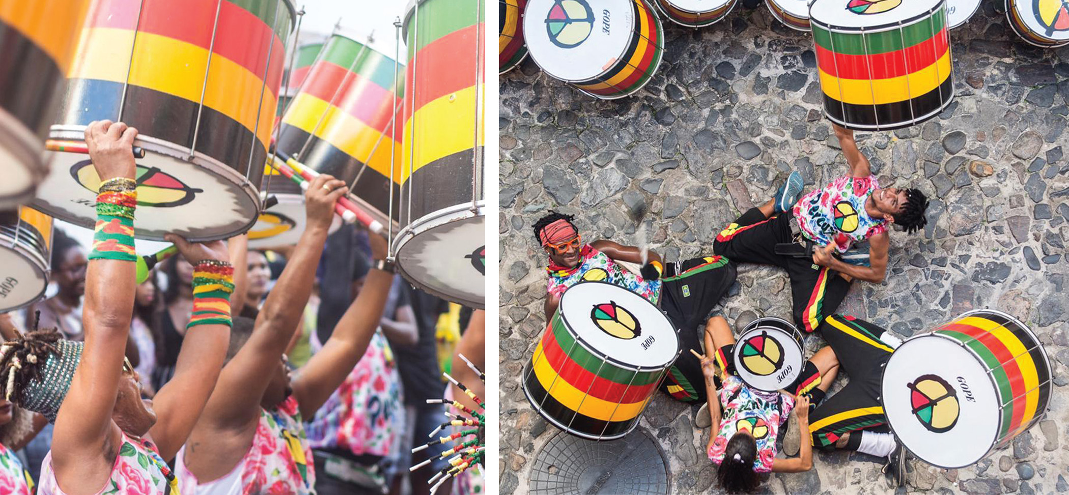 Olodum performers hit the streets.