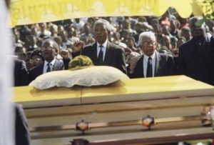 The ANC's Oliver Tambo, Nelson Mandela and Walter Sisulu, alongside former Zambian President Kenneth Kaunda, at Chris Hani's funeral.Denis Farrell / AP / Press Association Images