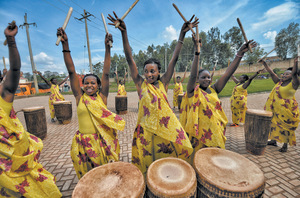 A chance for joy: Ingoma Nshya are making their mark as the first female percussionists in Rwanda.Photo: Oscar Espinosa