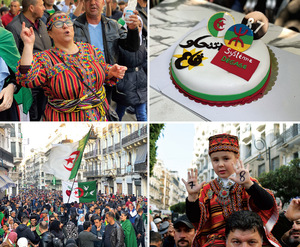 Images from Algiers of the demonstrations marking the first anniversary of the Hirak, 22 February 2020, before the pandemic brought a halt to such mass gatherings. The cake proclaims that the regime (système) has to move (dégage), a popular slogan of the protests.Photos: Riad Kaced