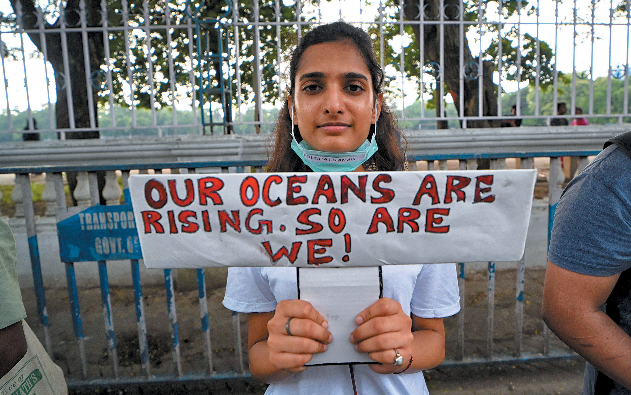 A student takes part in the September 2019 Global Climate Strike in Kolkata, India.