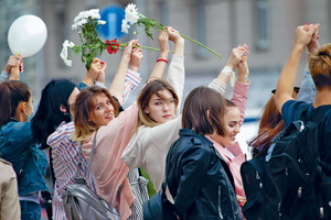 Women have played a leading role in protests against dictator Alexander Lukashenko in Belarus.Photo: Svetlana Lazarenka/Alamy
