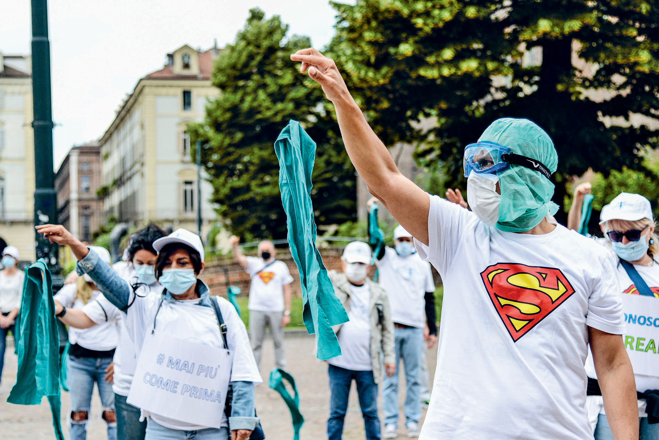 Nurses protest in Turin, Italy about the lack of safety at work during the Covid-19 pandemic.