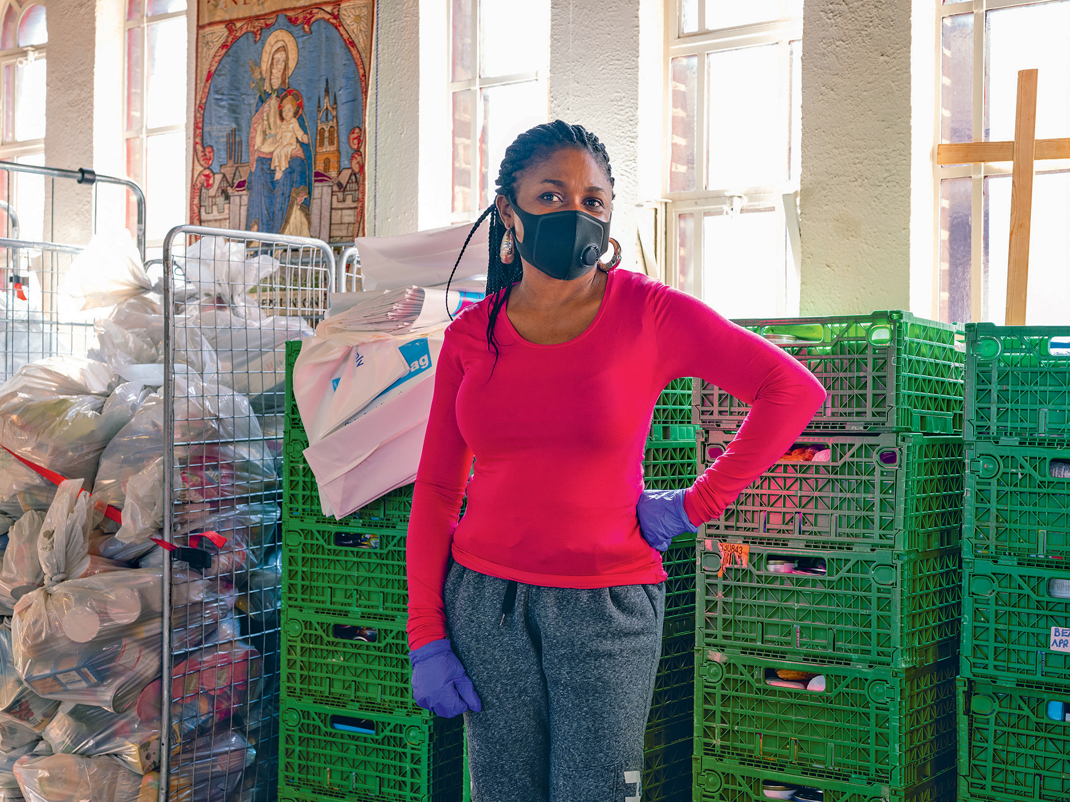 A volunteer at the West End Food Bank in Byker, Newcastle. Over 1.9 million in Britain are now reliant on food handouts in the UK.