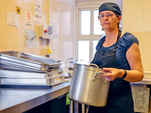 Penny Walters in the kitchen at Byker Community Centre where she volunteers as a chef twice a week.Photo: Tessa Bunney